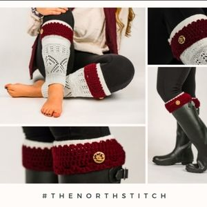 White and burgundy accented leg warmers